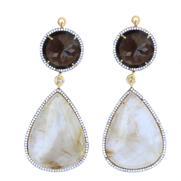 Smoky Quartz & Rutilated Quartz Set In Gold Vermeil Zircon Pave