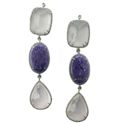 Faceted Rose Quartz & Charoite Set In Sterling Silver Zircon Pave