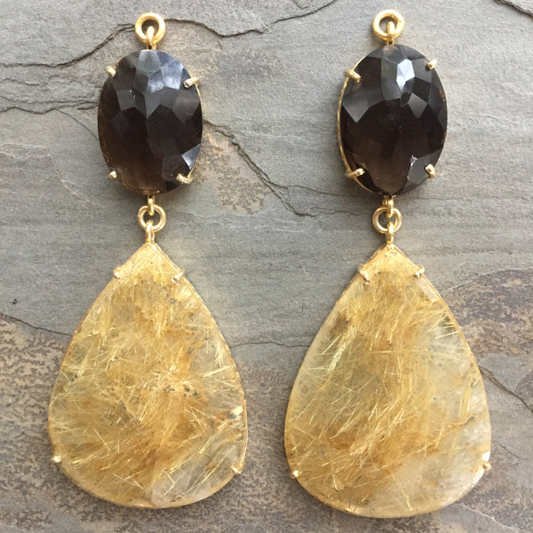 Smoky Quartz & Rutilated Quartz Gold Vermeil Jollie