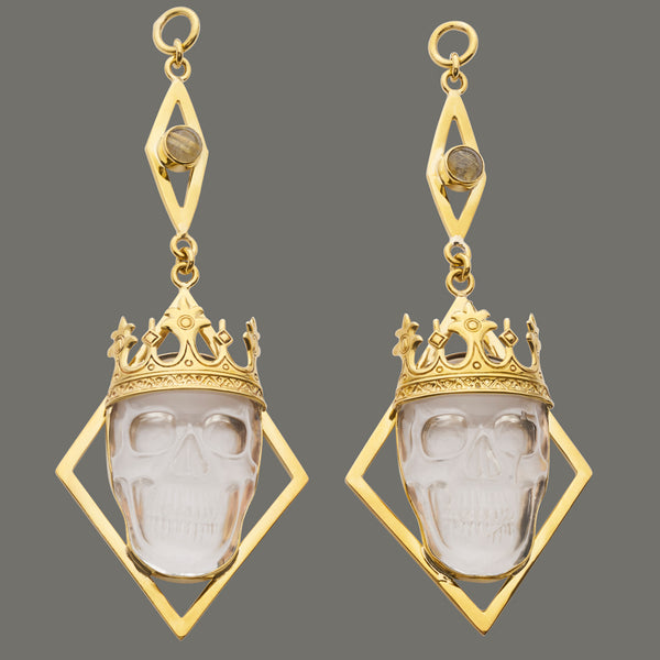 Solid Brass Rutilated Quartz Crystal Crown Skull Dangles