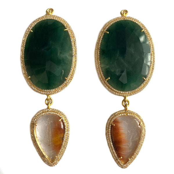Green Quartz & Hematite Included Quartz Set In Gold Vermeil Double Zircon Pave