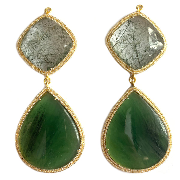 Faceted Tourmalated Quartz & Green Quartz Set In Gold Vermeil Double Zircon Pave