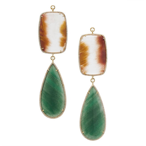 Green Quartz & Flame Quartz Zircon Pave
