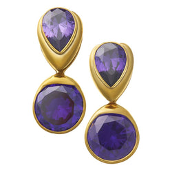 Solid Brass Fused Weights with Teardrop/Round Purple CZ