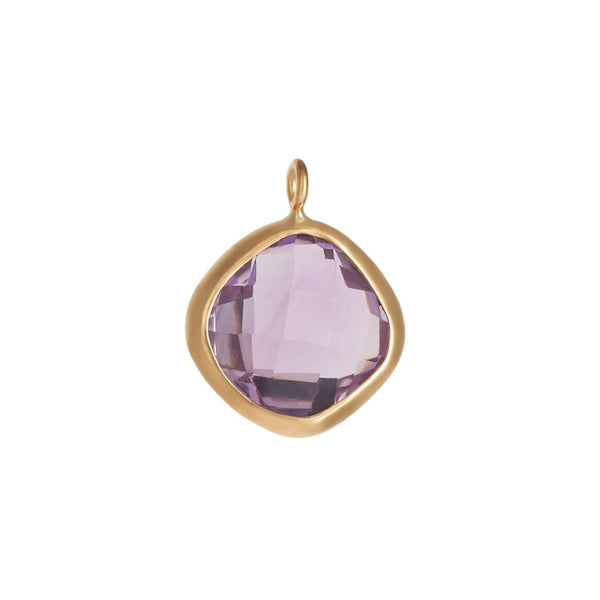 Faceted Amethyst Round Bezel Charm