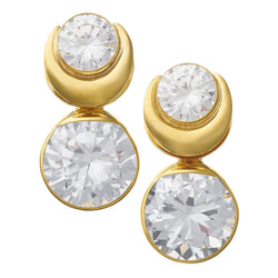 Solid Brass Fused Weights with Round Crystal CZ