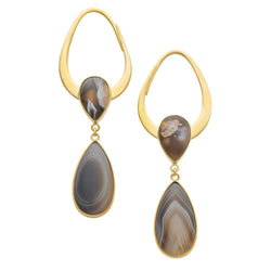 Solid Brass Botswana Agate Indias