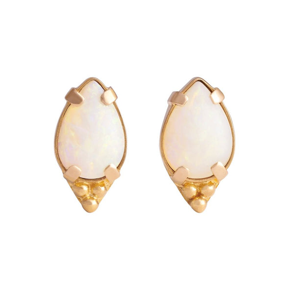 Pear Genuine Australian Opal Cabochon with Tri-Bead Pair