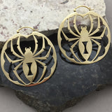Solid Brass Black Widow Hoops