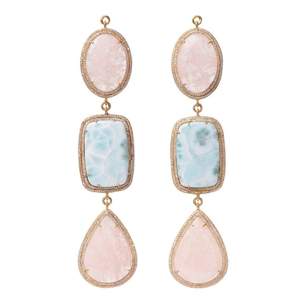 Morganite & Larimer Double Zircon Pave
