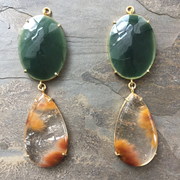 Green Quartz & Flame Quartz Gold Vermeil Jollie