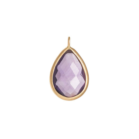 Faceted Amethyst Pear Bezel Charm