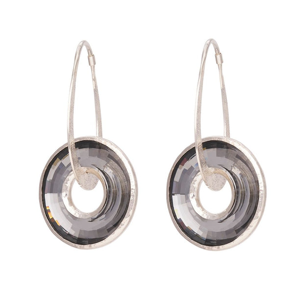 Black Diamond Swarovski Hoop Dangles