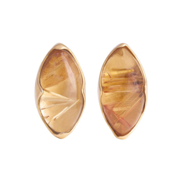Marquise Cabochon Rutilated Quartz Pair