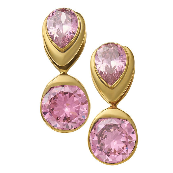 Solid Brass Fused Weights with Teardrop/Round Pink CZ