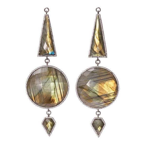 Triple Faceted Labradorite Zircon Pave