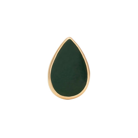 Tear Drop Bezel Cabochon Jade Pin