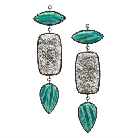Amazonite & Tourmalated Quartz Black Spinel Pave