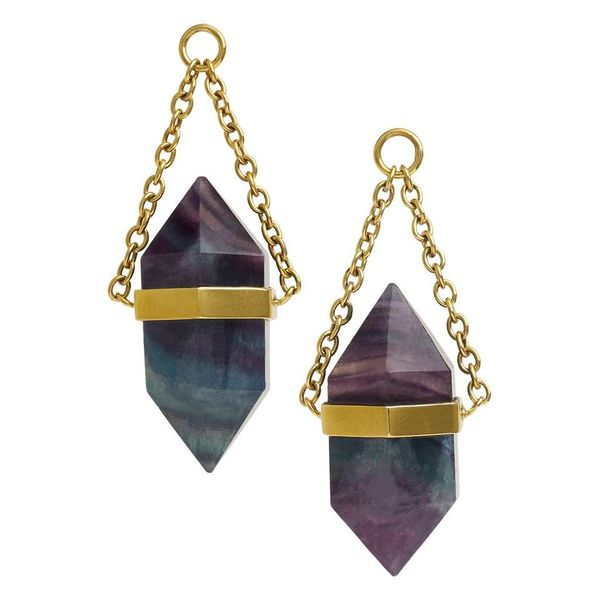 Solid Brass Fluorite DT Crystal