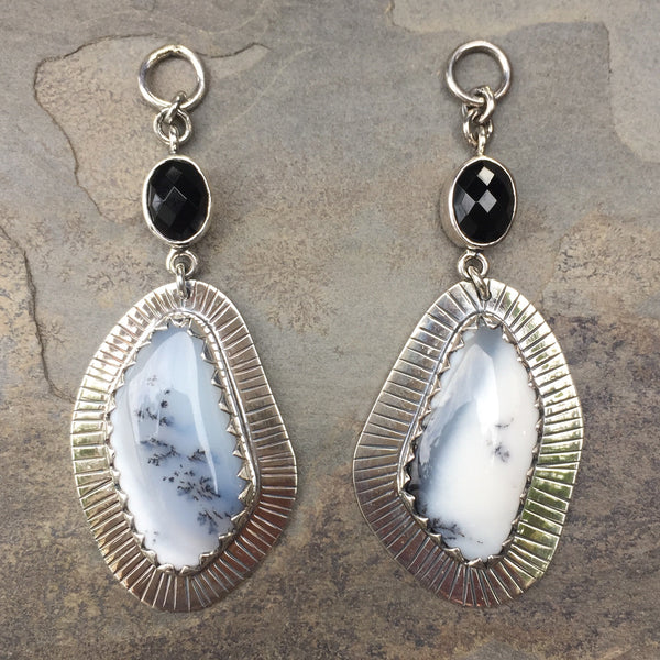 Free Form Dendritic Opal & Faceted Black Obsidian Vintage Dangles