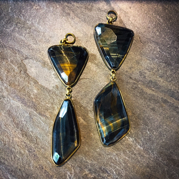 Free Form Faceted Blue Tiger's Eye Dangles