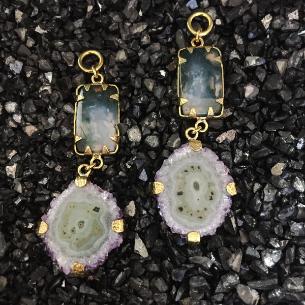 Moss Agate & Baby Stalactite Dangles