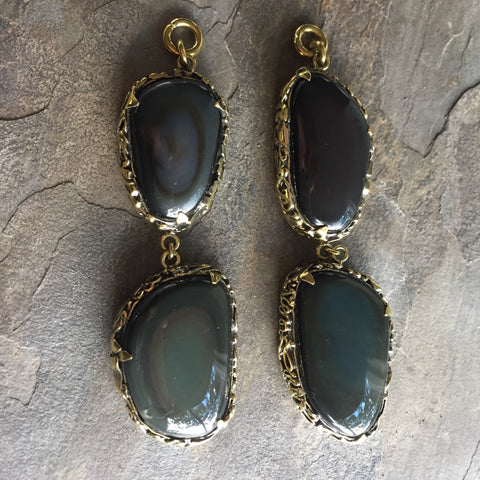 Rainbow Obsidian Double Dangles