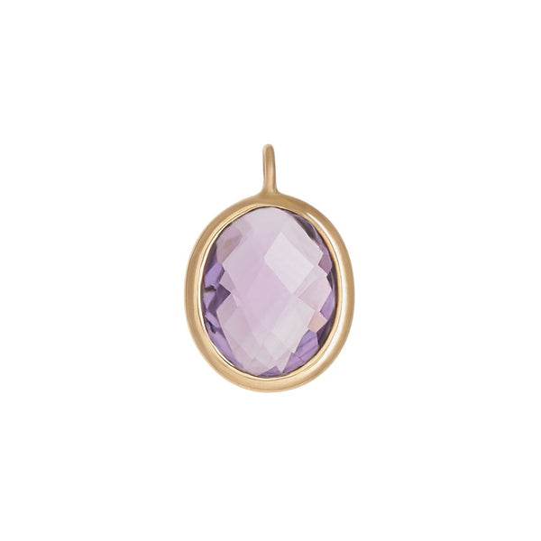 Faceted Amethyst Oval Bezel Charm