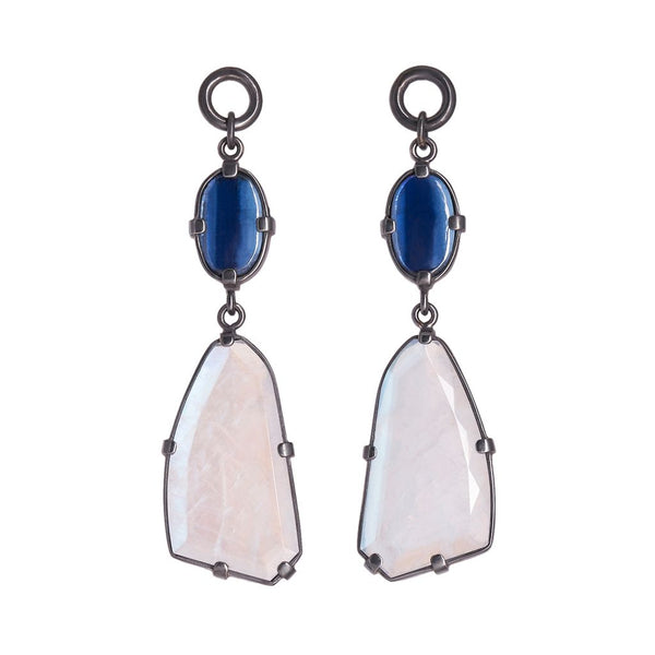 Kyanite & Faceted Rainbow Moonstone Dangles