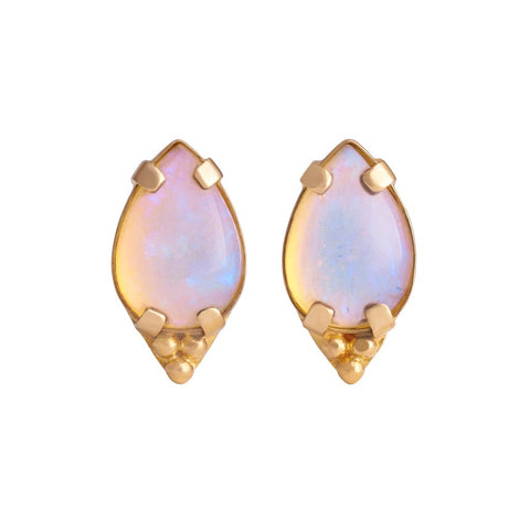 Pear Genuine Australian Opal Cabochon with Tri-Bead Cluster Pair