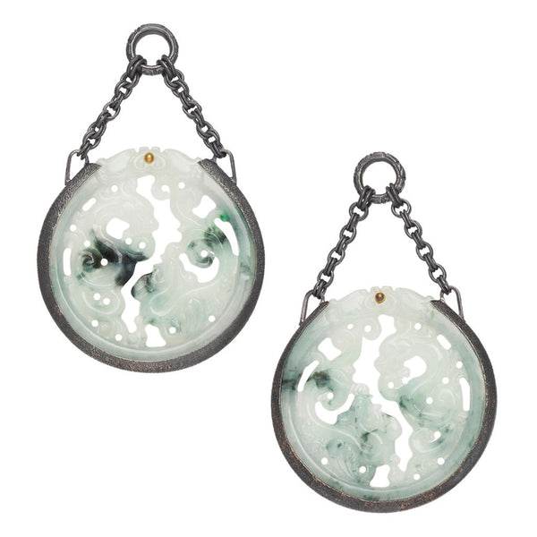 Circular Intricate Water Jade Dangles