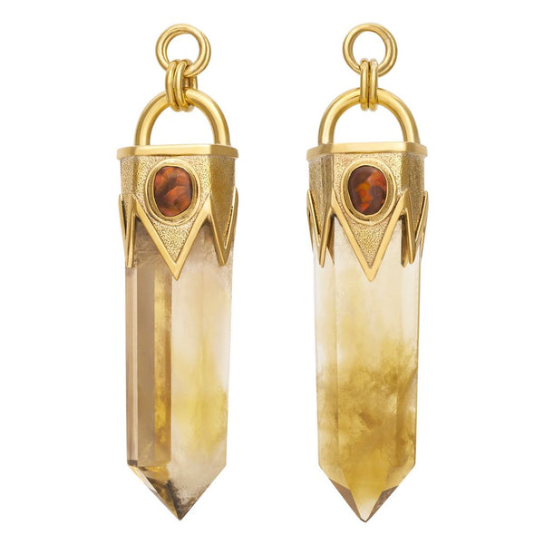 Fire Agate & Citrine Dangles