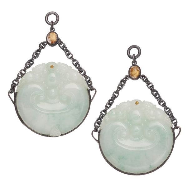 Rutilated Quartz & Water Jade Dangles