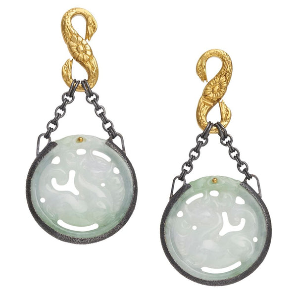 Swan Hook & Chain Water Jade Dangles