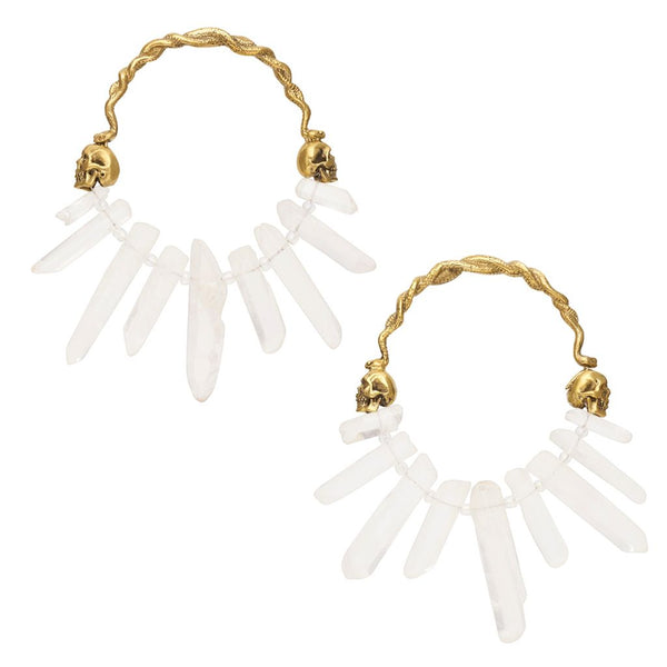 Medusa Clear Quartz Crystal Hoops