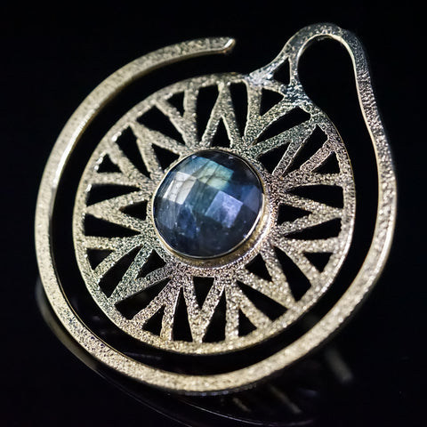Solid Brass Faceted Labradorite Essence Puj Ju