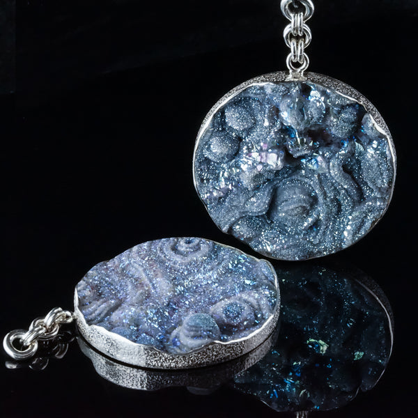 Light Blue Druzy Disc 50mm