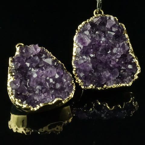 Amethyst Rough Cut Gold Dipped Druzy