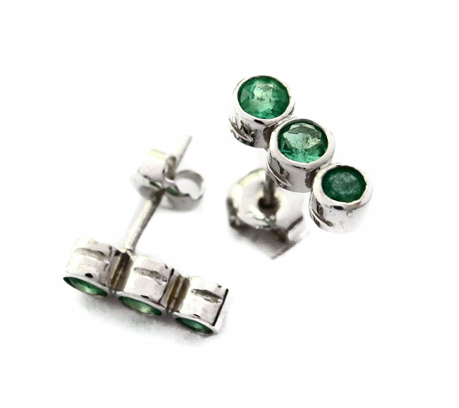natural carat diamond earrings emerald grs certified unheated green vivid