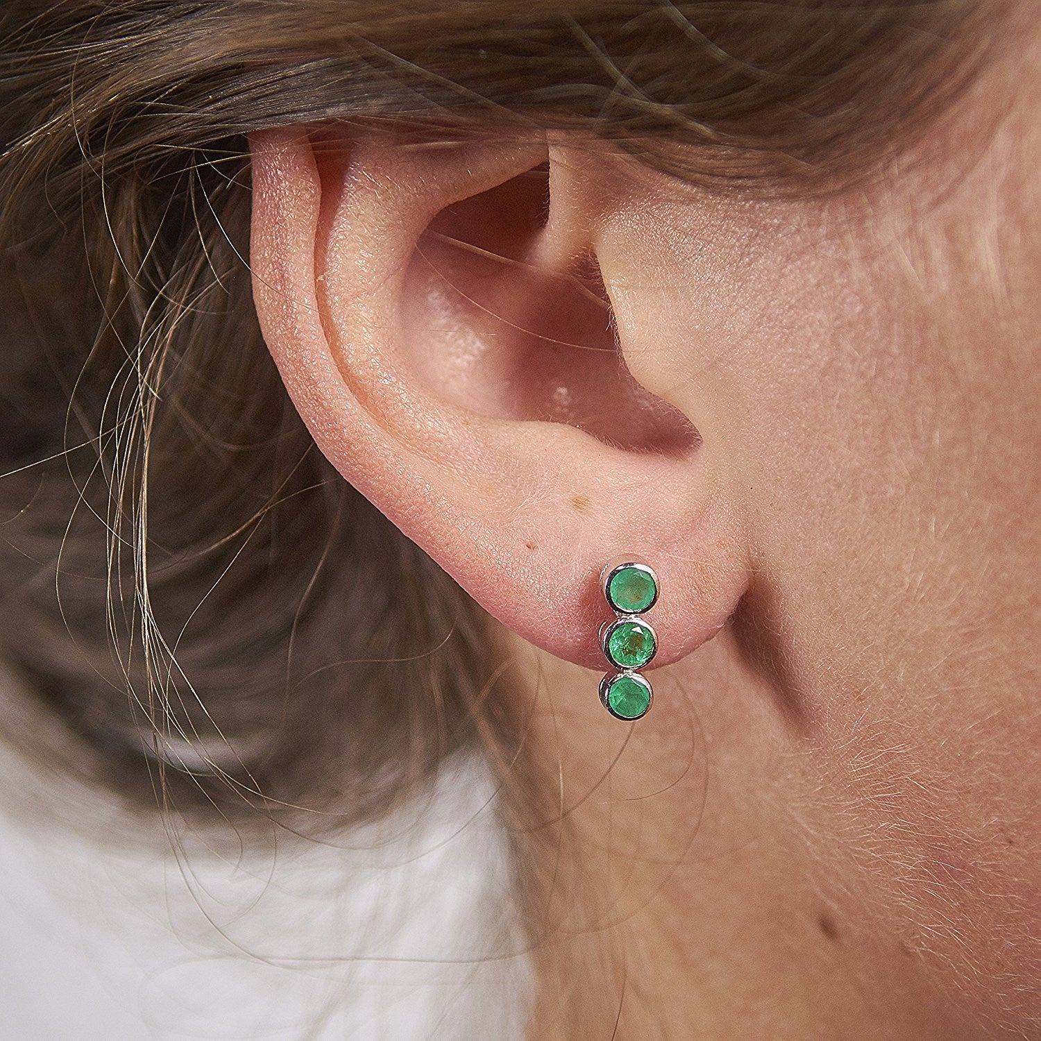 natural pair with back emerald earrings of product lever closures kind and one shaped diamond a colombian pear