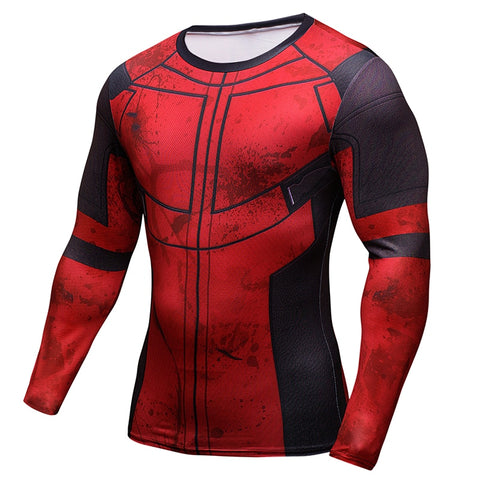 Deadpool 3D Cosplay Compression Shirt for Men (Long Sleeve)