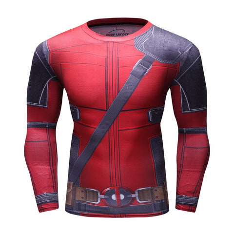 Deadpool 3D Print Cosplay Compression Shirt for Men (Long Sleeve)