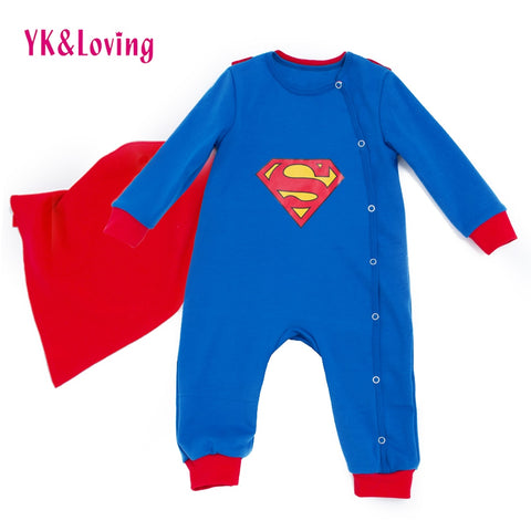 3e35f529f880 Superman Baby Boy Grils Rompers Long Sleeve With Cloak Halloween Christmas  Cartoon Clothes Costume Gift