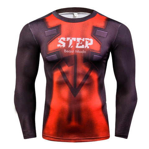 Deadpool 3D Crossfit Compression Shirt for Men (Long Sleeve)