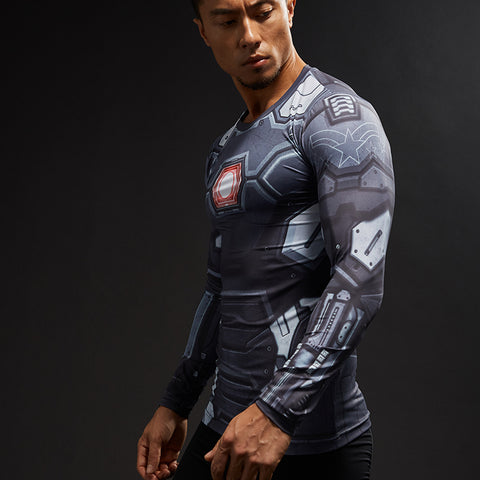 Ironman 3D Printed Bodbuilding Compression Shirt for Men (Long Sleeve)