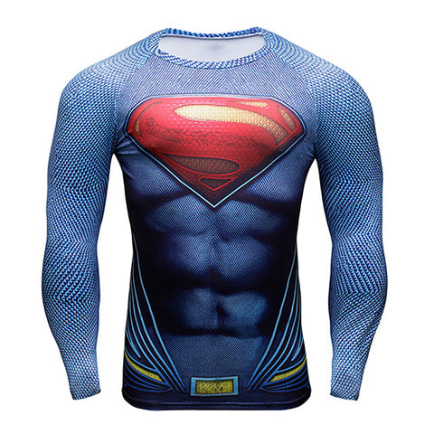 Superhero Batman/Superman 3D Compression Shirt for Men (Long Sleeve)