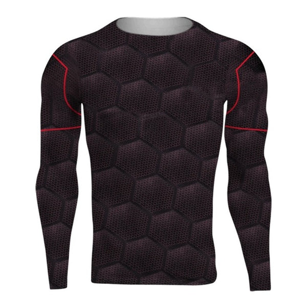 Spider an Panther 3D Printing Compression Shirt for Men (Long Sleeve)