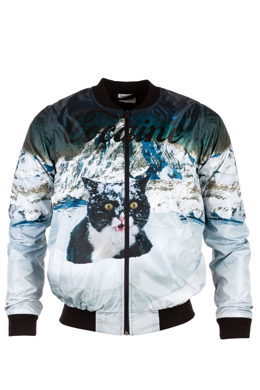 Cocaine Cat Bomber Jacket Bomber Jacket Men - Bittersweet Paris, printed, streetwear, urbran, fashion, outfit, unique, clothes,