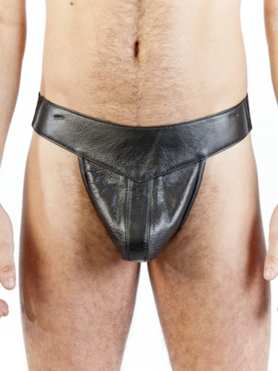"LEATHER LINED ""BAR LEGAL"" T-BACK JOCK"