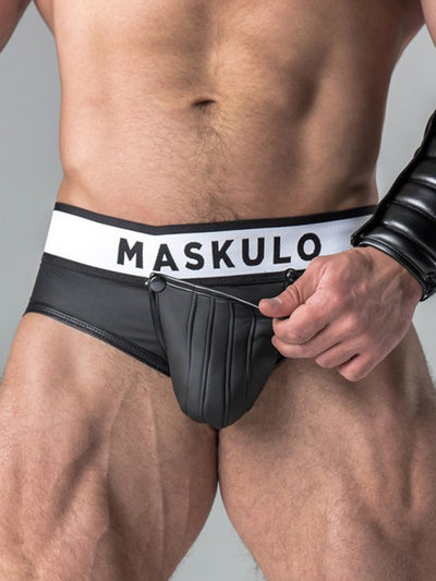 MASKULO RUBBER-LOOK POUCH BRIEF, OPEN REAR